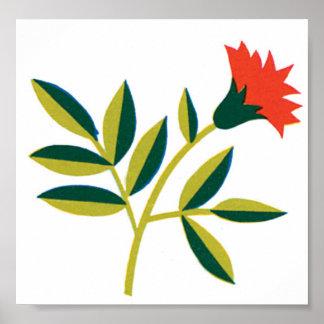 Orange Flower Green Leaves Poster