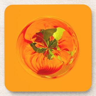 Orange flower in globe coasters