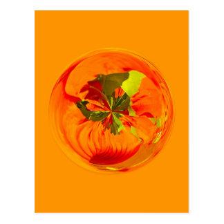 Orange flower in globe postcard