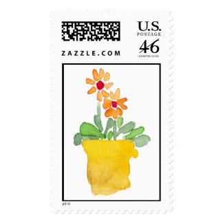 Orange flower in pot postage