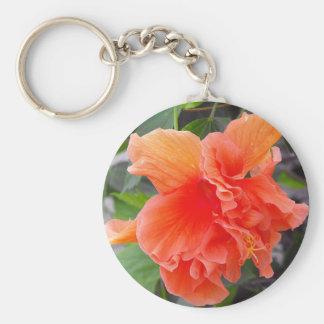 Orange Flower Basic Round Button Keychain