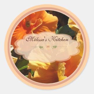 Orange flower labels classic round sticker