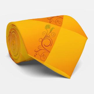 Orange Flower Neck Tie