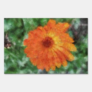 Orange flower painting signs