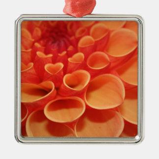 Orange Flower Pattern Metal Ornament