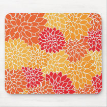 Orange Flower Pattern Mouse Pad
