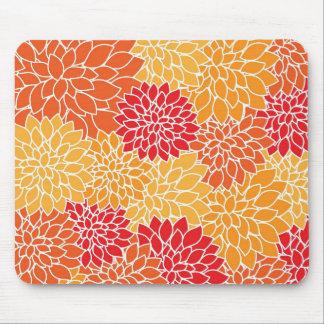 Orange Flower Pattern Mouse Pad
