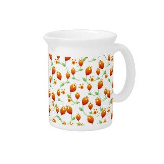 Orange Flower Pattern Pitcher