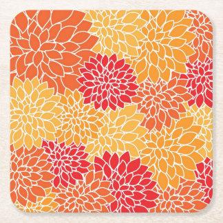 Orange Flower Pattern Square Paper Coaster