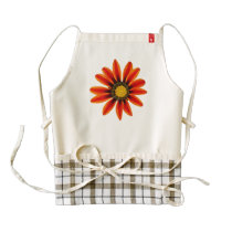 Orange Flower Pattern Zazzle HEART Apron