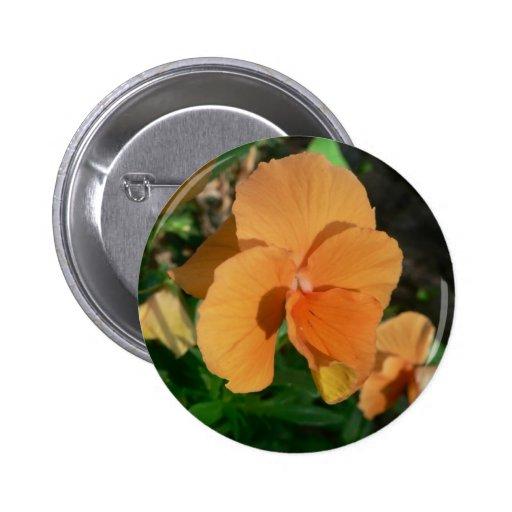 Orange Flower Pinback Buttons