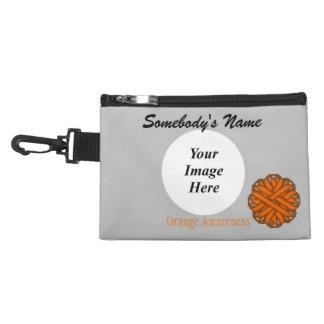 Orange Flower Ribbon Accessory Bag