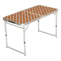 Orange Flower Ribbon Beer Pong Table