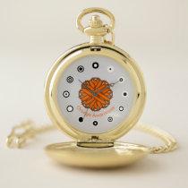 Orange Flower Ribbon (Bf) by K Yoncich Pocket Watch