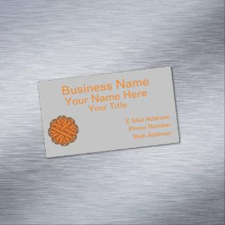 Orange Flower Ribbon Business Card Magnet