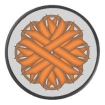Orange Flower Ribbon by Kenneth Yoncich Hockey Puck