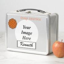 Orange Flower Ribbon by Kenneth Yoncich Metal Lunch Box