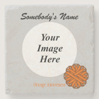 Orange Flower Ribbon by Kenneth Yoncich Stone Coaster