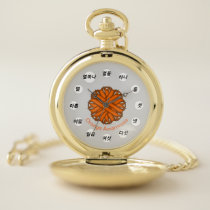 Orange Flower Ribbon (Kf) by K Yoncich Pocket Watch