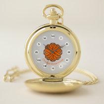 Orange Flower Ribbon (Rf) by K Yoncich Pocket Watch