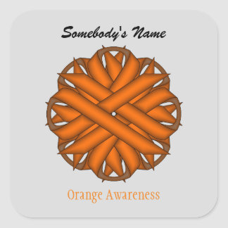 Orange Flower Ribbon Square Sticker