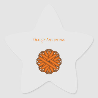 Orange Flower Ribbon Star Sticker