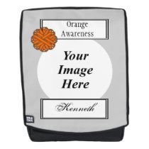 Orange Flower Ribbon Template by Kenneth Yoncich Backpack