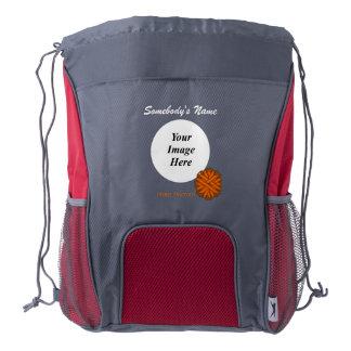 Orange Flower Ribbon Template Drawstring Backpack