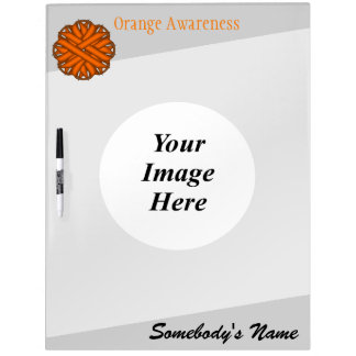 Orange Flower Ribbon Template Dry-Erase Board