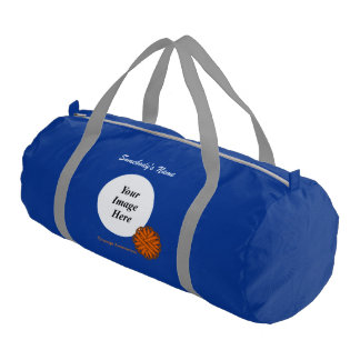 Orange Flower Ribbon Template Duffle Bag