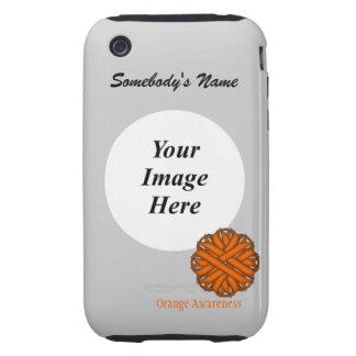 Orange Flower Ribbon Template iPhone 3 Tough Case