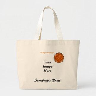 Orange Flower Ribbon Template Large Tote Bag