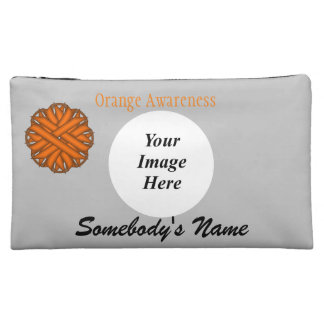 Orange Flower Ribbon Template Makeup Bag