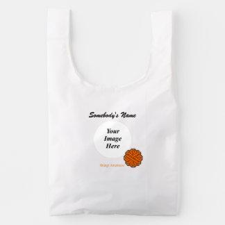 Orange Flower Ribbon Template Reusable Bag