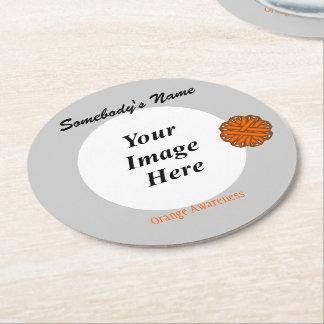 Orange Flower Ribbon Template Round Paper Coaster