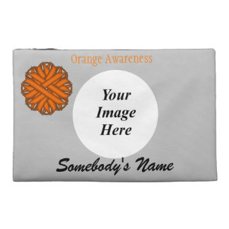 Orange Flower Ribbon Template Travel Accessory Bags