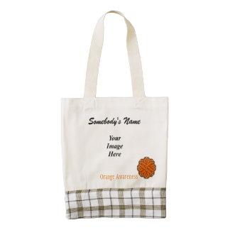 Orange Flower Ribbon Template Zazzle HEART Tote Bag