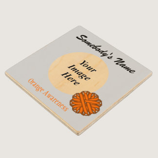 Orange Flower Ribbon Tmpl by Kenneth Yoncich Wood Coaster