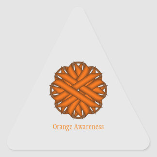 Orange Flower Ribbon Triangle Sticker