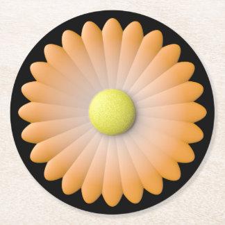 orange flower round paper coaster