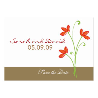Orange Flower Save The Date Large Business Cards (Pack Of 100)