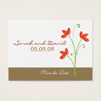 Orange Flower Save The Date Business Card