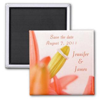 Orange Flower Save the Date Magnet