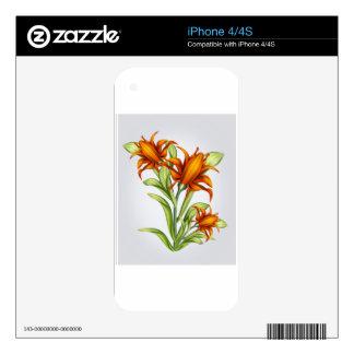 Orange Flower Skin For iPhone 4