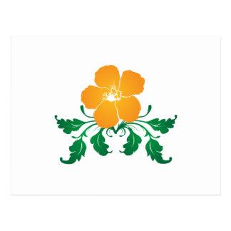 Orange Flower: Vector Drawing: Postcard