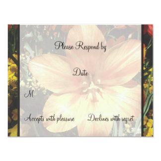 Orange Flower wedding rsvp Card