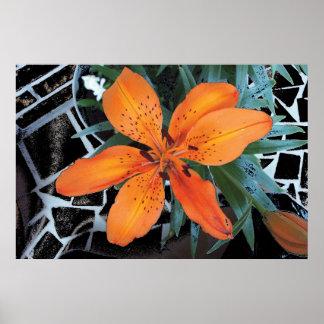 Orange Flower With Background Print
