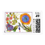 Orange flower with purple and green leaves postage