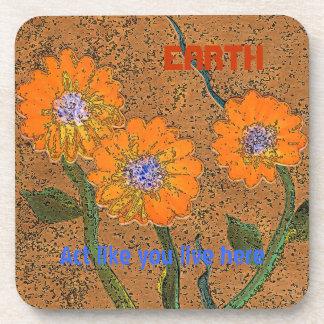 orange flowered earth art beverage coaster