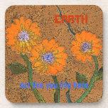 orange flowered earth art coaster